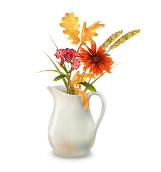 Herfstbloemen in jug Premium Vector