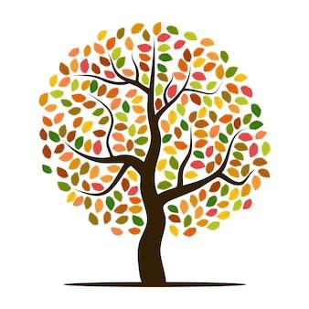 Herfstboom met gele, oranje, bruine en groene bladeren. vector illustratie