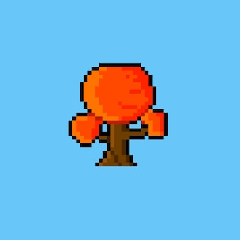 Herfstboom met pixelkunststijl