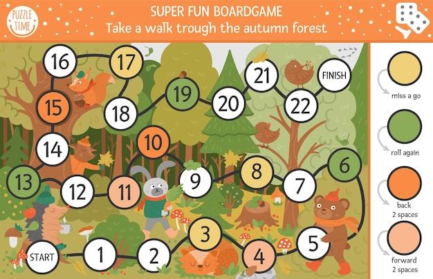 Herfstbordspel voor kinderen met schattige bosdieren. educatief bordspel met beer, haas, vos. maak een wandeling door de bosactiviteit. herfstseizoen of thanksgiving afdrukbaar werkblad.