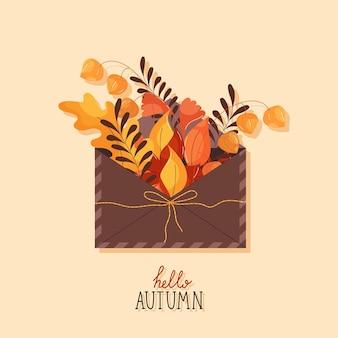 Herfstenvelop met herfstbloemen en bladeren in platte trendstijl