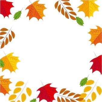 Herfstframe achtergrond met bladeren