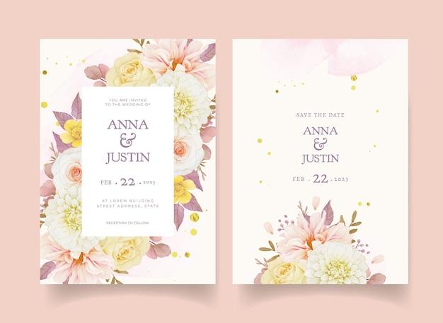 Herfsthuwelijksuitnodiging van aquarel dahlia en rozen