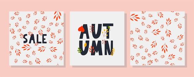 Herfstillustratie, banner, verkoopvector, herfst, belettering, kaart