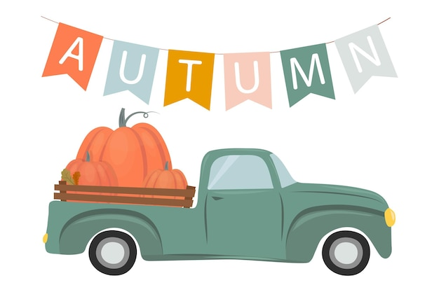Herfstillustratie een slinger van vlaggen met het opschrift autumn een auto met pompoenen