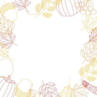 Herfstkaderachtergrond met bladeren en pompoenen