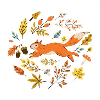 Herfstkrans met vallende bladeren, bessen en paddestoelen. rond frame met eekhoorn.