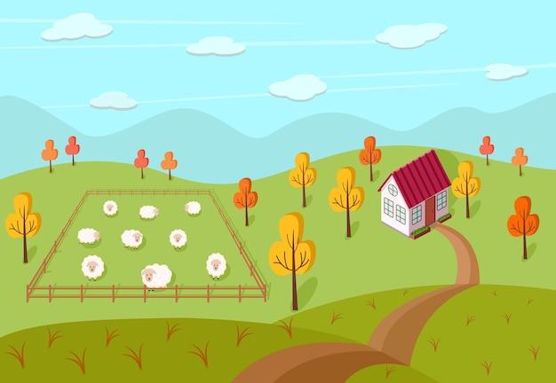 Herfstlandschap van een boerderij, een huis en een weiland met schapen. vectorillustratie van een dorp. Premium Vector