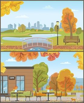 Herfstparken met brug over vijver en gezellig café