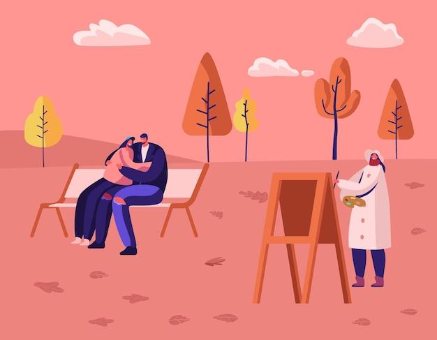 Herfstseizoen buiten vrije tijd in openbaar stadspark. cartoon vlakke afbeelding
