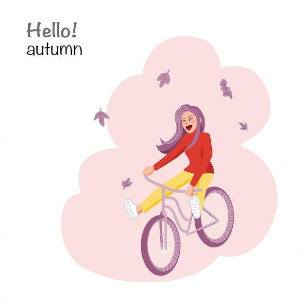 Herfstseizoen met een meisjes berijdende fiets op roze, stripfiguur