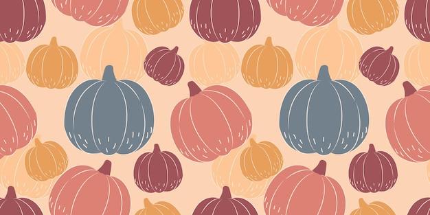 Herfstseizoen naadloos patroon met pompoenillustratie