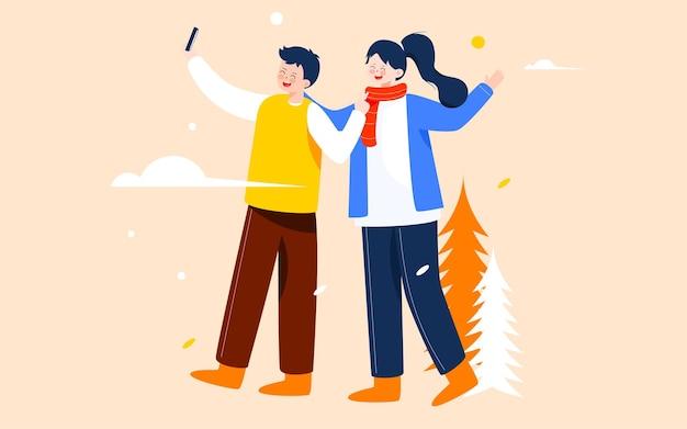 Herfstuitje paren illustratie herfst karakters buitenactiviteiten fotoshoot reisposter