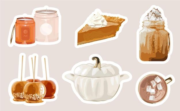 Herfstvakantie stickers collectie met lekker eten