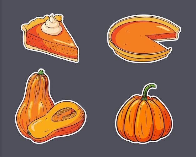 Herfstvakantie voedsel stickers set. verse rijpe pompoenen en pompoentaarten. thanksgiving gerechten collectie voor stickers, uitnodiging, menu en wenskaarten decoratie. premium vector