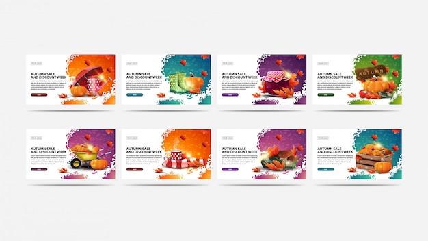 Herfstverkoop en kortingsweek, grote reeks moderne kortingsbanners met abstracte vormen, knopen en de herfstelementen. groen, oranje, paars en roze herfst korting banners