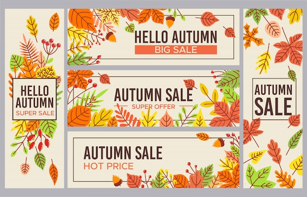 Herfstverkoop s. herfst seizoen verkoopbevordering banner, seizoenen korting en herfst poster met gevallen bladeren instellen