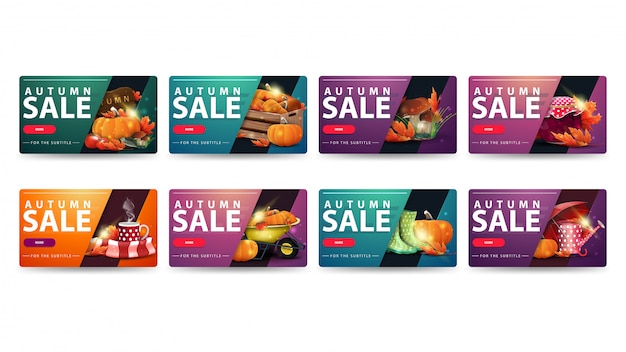 Herfstverkoop, set moderne kortingsbanners met afgeronde hoeken, knoppen en herfstelementen. groen, oranje, paars en roze herfst korting banners