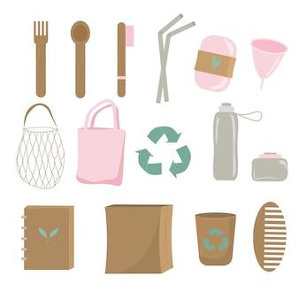 Hergebruik elementen nul afval huishoudelijke artikelen pictogram set illustratie