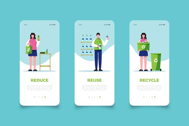 Hergebruik vuilnis mobiele app-schermen