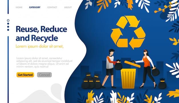 Hergebruiken, verminderen en recyclen met illustraties van vuilnisbakken en vuilstapels van steden