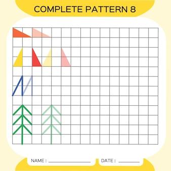 Herhaal patroon, pazzle. kopieer afbeelding. speciaal voor kleuters. afdrukbaar werkblad voor kinderen om de fijne motoriek te oefenen. leer kleuren. aandachtsoefening. bronnen voor docenten. gele vector