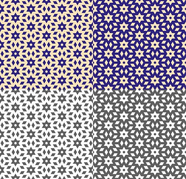 Herhalend geometrisch patroon in etnische stijl. naadloze textuur met blauwe, gele en zwart-wit achtergrond. vectormalplaatje voor behang, verpakking, stoffendruk. eenvoudige vormen. kleur inversie.