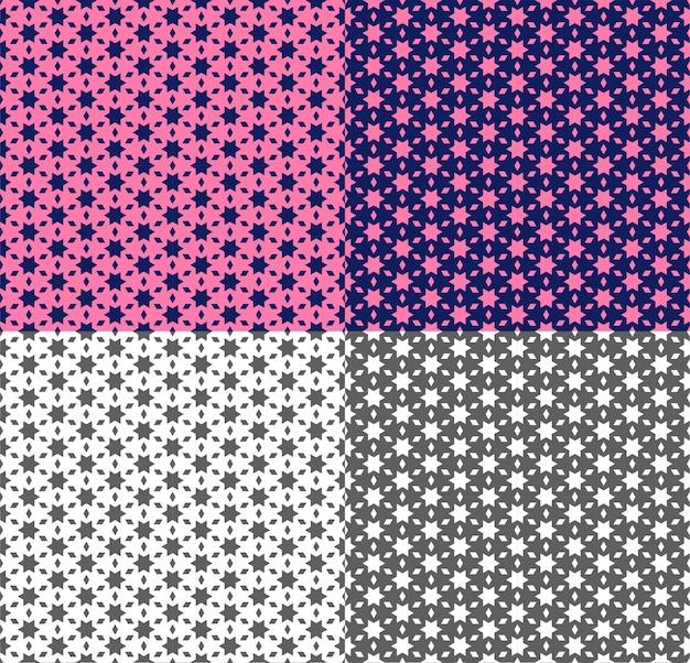 Herhalend naadloos patroon met ster, veelhoek. geometrische sieraad in etnische stijl met roze, violet, zwart-wit achtergrond. vectortextuur voor behang, stof, achtergrond, textiel. kleur inversie.