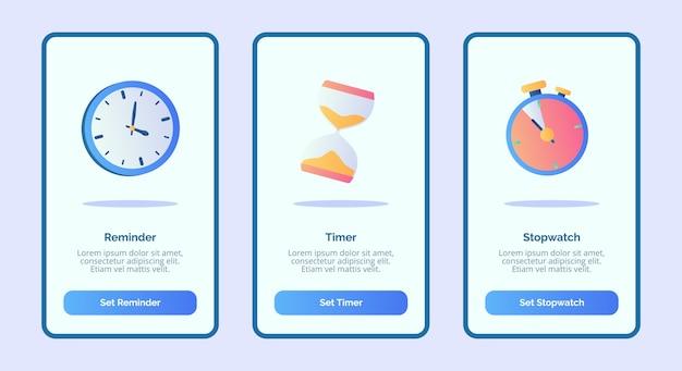 Herinnering timer stopwatch voor mobiele apps sjabloon banner pagina ui met drie variaties moderne egale kleurstijl