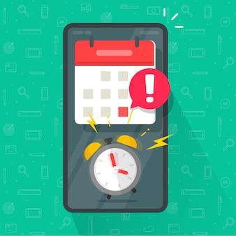Herinnering voor mobiele telefoon met belangrijke online-app voor deadline-deadline in het bericht van de agenda-organisator