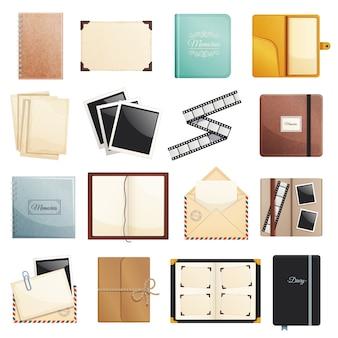 Herinneringen collectie van fotoalbum plakboek kladblok dagboeken post envelop film dia mappen geïsoleerde decoratieve elementen illustratie
