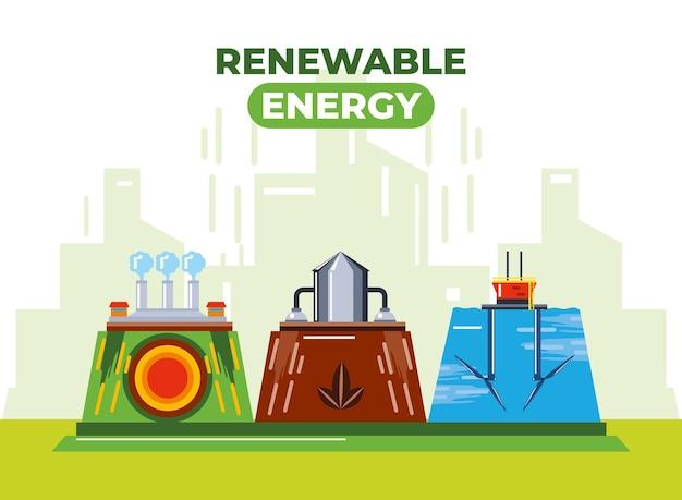Hernieuwbare energie geothermische waterkrachtbronnen duurzame illustratie