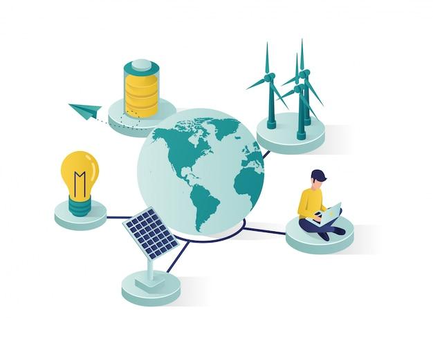 Hernieuwbare energie met behulp van zonnepaneel om de isometrische illustratie van de wereld te redden