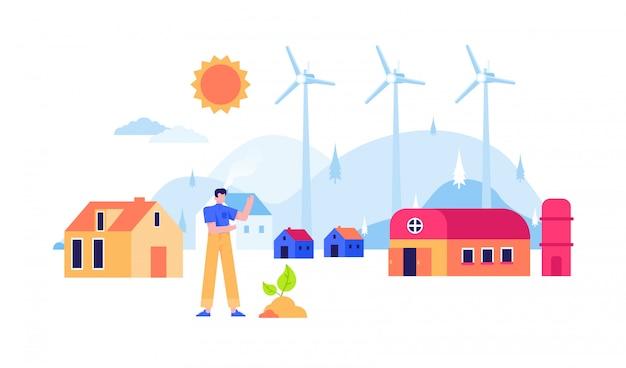 Hernieuwbare energie windmolen nucleair zonnepaneel elektriciteit platte ontwerp illustratie
