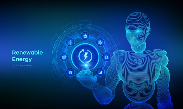 Hernieuwbare energiebronnen technologieconcept op virtueel scherm. wireframed cyborg-hand wat betreft digitale interface.