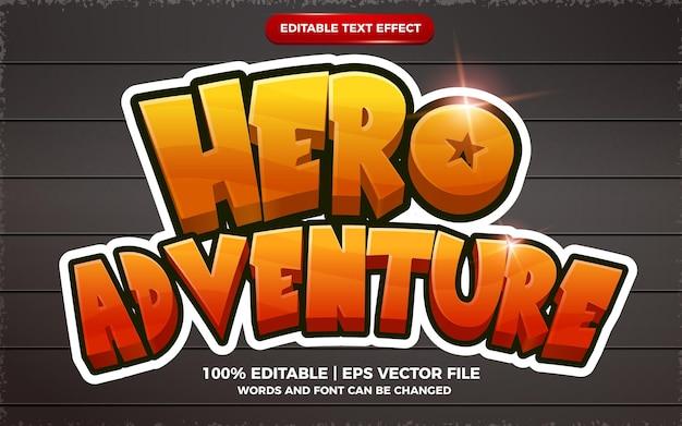 Hero adventure 3d bewerkbare teksteffect cartoon game-stijl