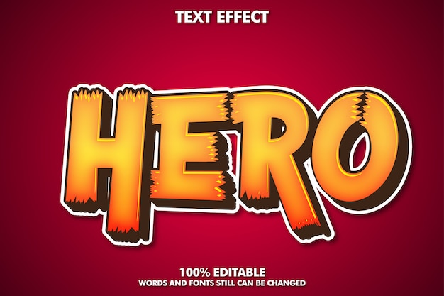 Hero sticker label, bewerkbaar cartoon teksteffect