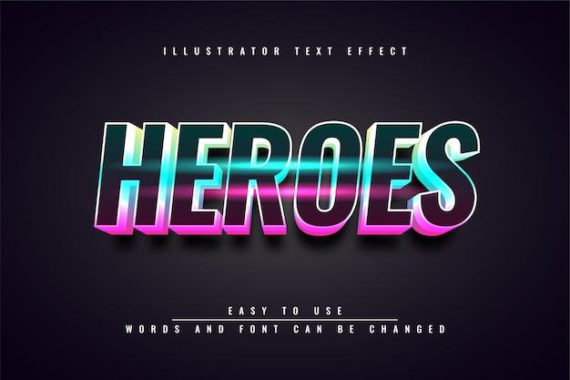 Heroes - bewerkbaar teksteffect lichtontwerp