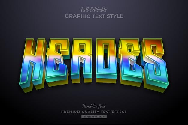 Heroes gradient levendige, bewerkbare teksteffect lettertypestijl