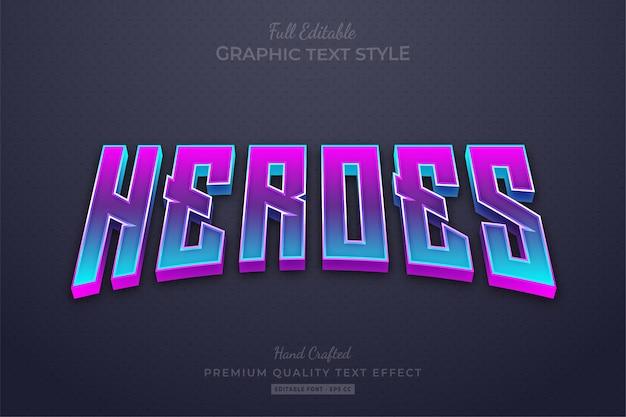 Heroes gradient movies bewerkbare teksteffect lettertypestijl
