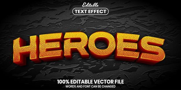 Heroes-tekst, bewerkbaar teksteffect in lettertypestijl