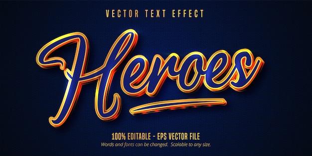 Heroes tekst, blauwe kleur en glanzend goudstijl bewerkbaar teksteffect
