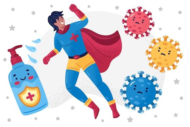 Heroïsche man en zeep die het virus bestrijden