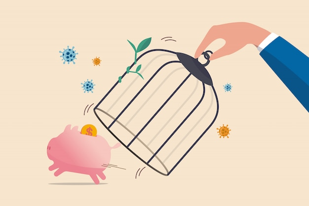 Heropen economie na coronavirusvergrendeling, herstart bedrijf in normaal bedrijf na piek van coronavirus covid-19-uitbraakconcept, overheidshand ontgrendelt de kooi-vrije spaarpot met dollargeld.