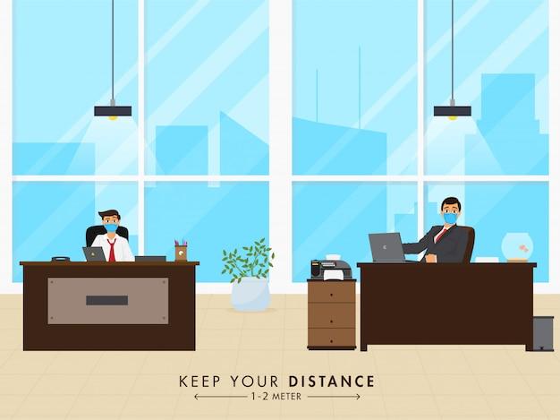 Heropen office concept na pandemie met behoud van afstandsboodschap.