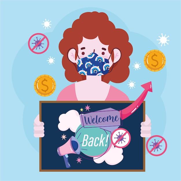 Heropening, cartoon vrouw draagt medisch masker en houdt een bord met welkom terug illustratie