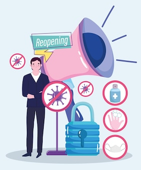 Heropening gelukkig zakenman megafoon geld, preventiemaatregelen illustratie