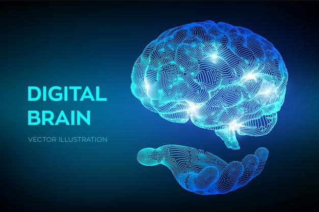 Hersenen. digitaal brein in de hand.