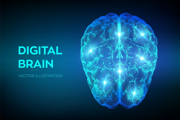 Hersenen. digitaal brein. kunstmatige intelligentie virtuele emulatie wetenschapstechnologie.