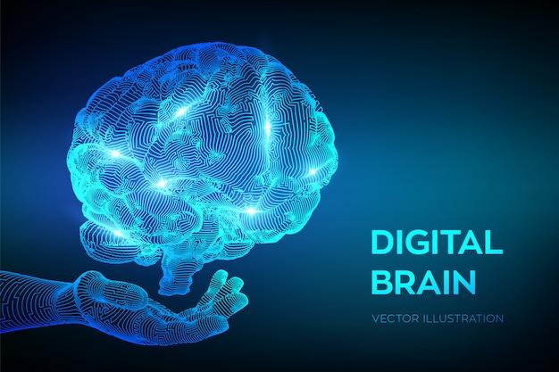 Hersenen. digitale hersenen in de hand. neuraal netwerk.